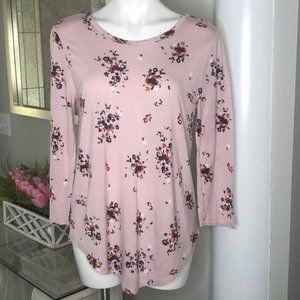 Loft Outlet Pink Floral Open Back Top, Size L